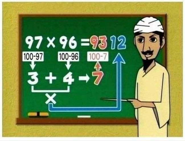 Phương pháp tính nhẩm siêu tốc nhân hai số có hai chữ số lớn gần bằng 100